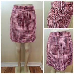 NWT White House Black Market Pink Tweed Boot Skirt